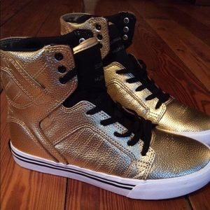 Gold Supra Kids Shoes